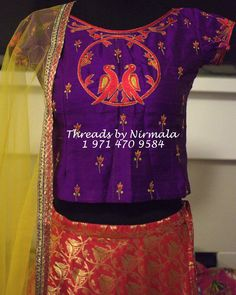 Beautiful purple color crop top with pair of birds design hand embroidery thread work from Nirmala. Embroidery Works, Embroidery Thread, Embroidery Blouses, Embroidery Designs, Kids Blouse Designs, Indian Skirt, Baby Sewing Projects, Purple Blouse, Thread Work