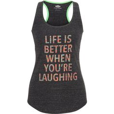 maurices Life Is Better When You're Laughing Tank ($26) ❤ liked on Polyvore featuring tops, grey, grey tank top, racerback tank, gray top, graphic tank tops and racer back tank top