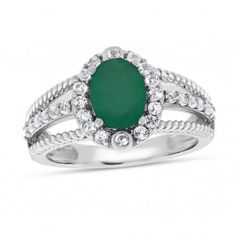 Viola, Oval-cut Green Onyx & White Topaz Ring in Sterling Silver