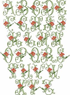 Vintage embroidery font with Poppies