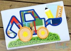 School Digger Applique - 4 Sizes! | What's New | Machine Embroidery Designs | SWAKembroidery.com Creative Appliques