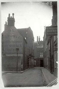 Looking towards Chatham High Street, showing the rear of Barron and Co. Bootmakers at 195 High Street. Queen Victoria Children, Chatham Kent, Gillingham, Slums, Local History, Old West, Old Photos, The Row, Taj Mahal