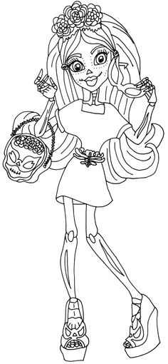 monster high free printables | Skelita Calaveras I love Accessories Monster High Coloring Page