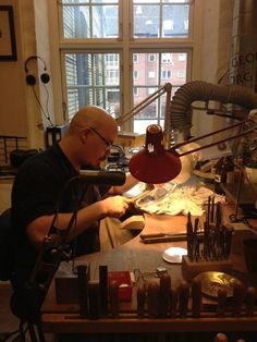 master silversmith at georg jensen's copenhagen headquarters