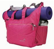 Apera Yoga Tote. A pretty pink gym bag with a special place for your yoga mat.