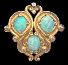 This is not contemporary - image from a gallery of vintage and/or antique objects. Art Nouveau Gold, Opal And Diamond Brooch - American, Opal Jewelry, Jewelry Art, Antique Jewelry, Vintage Jewelry, Jewelry Accessories, Fine Jewelry, Jewelry Design, Gold Jewelry, Charm Jewelry