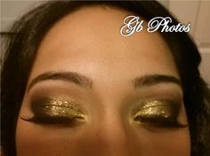 Glitter gold eyes with smokey eye look. Great for night out or clubbing!