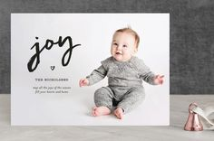 """""""Joy In Your Heart"""" - Full-Bleed Photo, Modern Christmas Photo Cards in Ebony by fatfatin."""