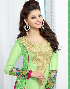 Urvashi Rautela Georgette Resham Work Green Semi Stitched Straight Suit - Y16 at   Rs 1845 #StayTrendyWithIndiaRush #StayTrendy
