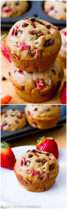 """Incredible """"lightened-up"""" chocolate chip muffins with fresh strawberries. Nearly fat-free and only 140 calories each!"""