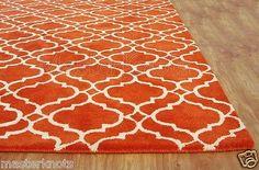 Brand New Riyana Scroll Tile Orange 5x8 8x5 Handmade Woolen Area Rug Carpet Sale