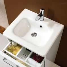 This range range of white bathroom furniture from HiB has some great storage solutions, with the clever divided drawers to house lots of bathroom necessitates. Small Bathroom Cabinets, White Bathroom Furniture, Led Furniture, Cabinet Furniture, Basin Cabinet, Vanity Cabinet, Vanity Units, Countertop Basin, Countertops