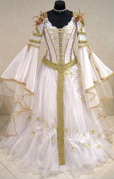 GOLD MEDIEVAL WEDDING DRESS VICTORIAN GOTH RENAISSANCE 12-14-16 S-M-L PROM ROBE #Custommade #Dress