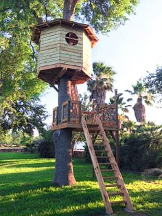 A client built a octagon treehouse and lower platform with our hardware.  Pretty neat!