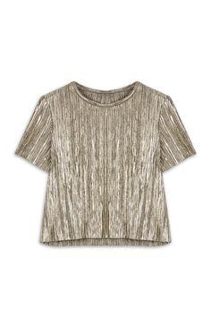 Primark - Goldenes Plissee-T-Shirt