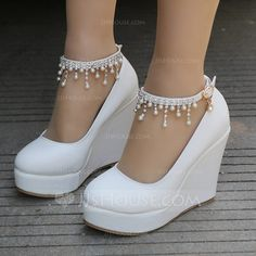 Women s Leatherette Wedge Heel Closed Toe Platform Pumps Wedges MaryJane  With Buckle Imitation Pearl Rhinestone Chain - Wedding Shoes - JJsHouse b9059f46679