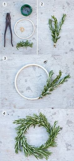 rosemary wreath mason jar lids