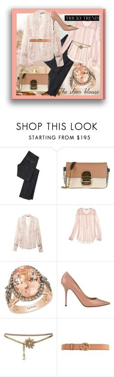 """TRICKY TREND THE SHEER BLOUSE"" by dawn-lindenberg ❤ liked on Polyvore featuring Bellagio, Marc Jacobs, Alexander McQueen, Calypso St. Barth, LeVian, Jimmy Choo, Chanel and Gucci"