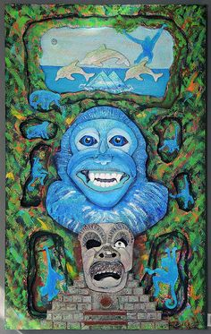 Plummer, Betty. Blue Monkey (Mayan Glyph)  Media: Acrylic and Mixed Media. Price: $ 900.00. Show: Metamorphosis. Dates: October 3 - November 2, 2014. Curators: Kathy Turner, Betty Plummer. Judge: Elizabeth Ann Coleman. Location: Del Ray Artisans gallery at the Nicholas A. Colasanto Center, 2704 Mount Vernon Avenue, Alexandria, Virginia 22301.