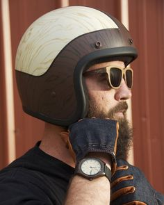 Wood-grain Biltwell lids...anyone interested?  A talented artist and man, @brandonbouck, created this and one other helmet for the @saltybikerevival. We'll have them on this Sunday for the @gentlemansride and are thinking about doing custom ones in the future. What do you think?  If you are near Salt Lake or any city participating in the @gentlemansride, don't miss out on an awesome event for a great cause. #twigswoodwear