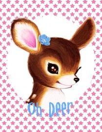Oh deer - vintage greeting card