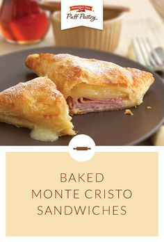 Pepperidge Farm Puff Pastry Baked Monte Cristo Sandwiches. Elevate this classic brunch dish with Puff Pastry. Triangles of Puff Pastry are stuffed with ham and cheese and baked to gooey perfection. Sprinkle with confectioners' sugar and drizzle with maple syrup for a perfectly sweet and savory flavor combination.