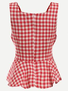 Red Checkerboard Self Tie Peplum Top Indian Gowns Dresses, Western Tops, Girls Summer Outfits, Stylish Tops, Victoria Dress, Red Blouses, Western Outfits, Blouse Styles, Top Pattern