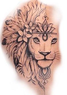Front Thigh Tattoos, Lion Tattoo On Thigh, Lion Tattoo Sleeves, Sleeve Tattoos, Mandala Lion Tattoo, Leo Lion Tattoos, Dope Tattoos, Girly Tattoos, Badass Tattoos