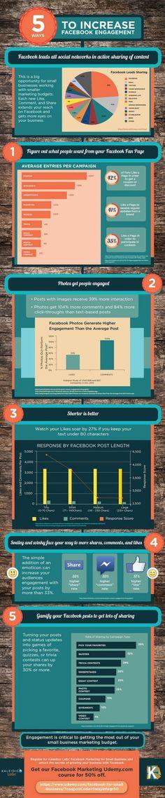 5 manières de créer de l'engagement sur Facebook  : #1. Apprenez à connaître ce qu'attendent les fans de votre page Facebook. Lorsque vous créez un concours Facebook, savez-vous quelles sont les incitations auxquelles répondent le plus vos fans ? #2. Utilisez le type de publications (statut, photo, lien) qui reçoit habituellement le plus d'engagement. #3. Optimisez la longueur de vos publications. #4. N'oubliez pas les smileys Facebook. #5. Gamifiez vos publications.