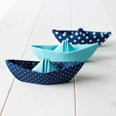 Fabric paper boats - a contradiction in terms, like the pink bluebells in my garden.
