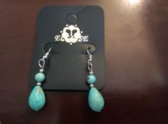 Turquoise Stone Eclipse Dangle Earrings  #Eclipse #DropDangle