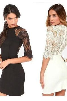 Fashion Women Clothing Sexy Lace Mid Short Sleeve Slim Knee Lengtth Tight Tunic Dress White Black