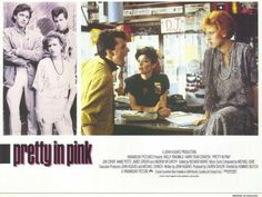 """""""Pretty in Pink"""" written by John Hughes, starring Molly Ringwald, Jon Cryer, Andrew McCarthy & James Spader Margaret Colin, Andrew Dice Clay, Kristy Swanson, Jon Cryer, Dean Stanton, Annie Potts, Andrew Mccarthy, Molly Ringwald, Gina Gershon"""