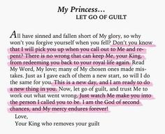 His Princess: Love Letters from Your King - Sheri Rose Shepherd (Let Go Of Guilt) Make Peace, Bible Quotes, Bible Verses, Qoutes, Godly Quotes, Jesus Quotes, Quotations, Prayer Scriptures, Faith Quotes