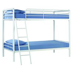 Twin over Twin Bunk Bed with Ladder in White Metal Finish - Quality House