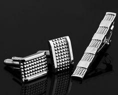 Silver Tie Bar & Cufflink Set
