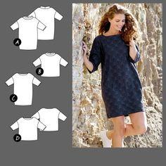 Kjole og bluse Short Sleeve Dresses, Dresses With Sleeves, Dress Making Patterns, Dressmaking, Sewing Patterns, Couture, Aurora, Blouses, Diy