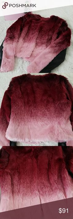 New York and Company Ombre Faux Fur Jacket Small Such a luxurious looking and feeling jacket with endless styling potential. Features ultra soft ombre dip dyed faux fur in shades of burgundy and soft pink with vegan leather trim on the sleeves  Brand new with tags attached  Product Details:  -Luxurious look, but cruelty free faux fur jacket with vegan leather trim on arms and on the inside - Hook and eye front closure all the way down the front - Waist length - Easy care, machine washable…