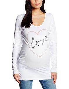 MAMALICIOUS Damen Umstands Langarmshirt MLHEARTLY STATEMENT LS JERSEY TOP, Gr. 36 (Herstellergröße: S), Weiß (Bright White)