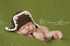 Brown & Cream Newborn Aviator Hat