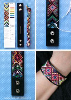 Cross-stitch cuff bracelet – by Craft & Creativity: – armband knüpfen Cross Stitch Love, Cross Stitch Fabric, Cross Stitch Embroidery, Diy Jewelry, Beaded Jewelry, Handmade Jewelry, Leather Jewelry, Leather Craft, Leather Embroidery