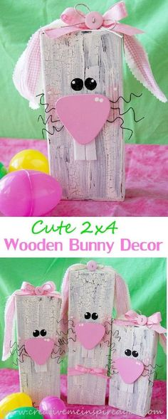 2x4 Wooden Bunnies Easter Crafts For AdultsAdult