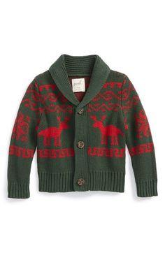 Peek Reindeer Shawl Collar Knit Cardigan (Baby Boys) at Nordstrom.com.