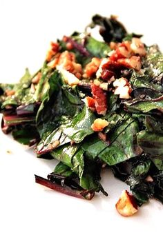 Honey Beet Greens with Pecans