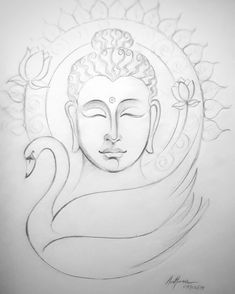 Art Drawings Sketches Simple, Pencil Art Drawings, Colorful Drawings, Budha Art, Budha Painting, Buddha Drawing, Krishna Names, Flower Art Drawing, Buddhists