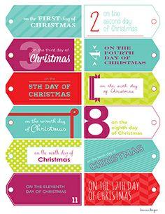 Printable 12 Days Of Christmas Gift Tags