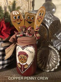 Christmas Projects, Christmas Diy, Christmas Crafts, Christmas Decorations, Painted Spoons, Hand Painted, Gingerbread Crafts, Gingerbread Men, Winter Theme