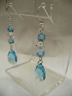 Aqua Crystal Earrings by HeartFaceDesigns on Etsy