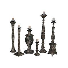 GuildMaster 250512S Six Piece Mahogany Candle Holder Set Gray Home ($878) ❤ liked on Polyvore featuring home, home decor, candles & candleholders, accents, candle holders, grey, grey candles, gray home decor, hand carved candles and gray candles