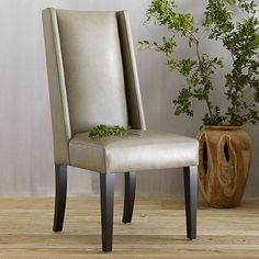 Willoughby Leather Dining Chair - Elephant #westelm    We bought these chairs for our new Angled-leg table! Can't wait to see it all together!!